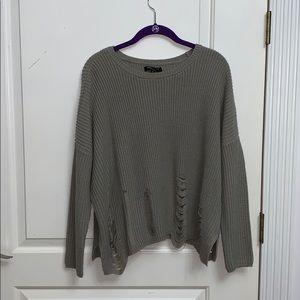 Distressed Hem Oversized Sweater